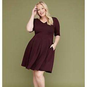 3/4 Sleeve Pleated Fit & Flare Dress